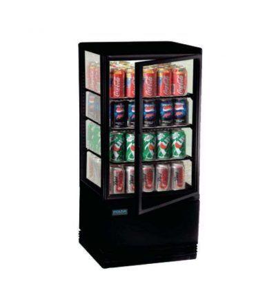 Expositor refrigerado iluminado 68 litros negro