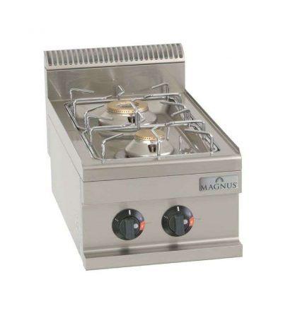 Cocina a gas 2 quemadores de 400 x 600 mm.