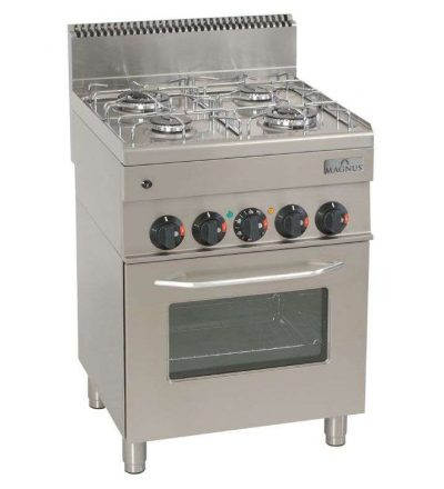 Cocina gas 4 fuegos + horno 600 x 600 mm.