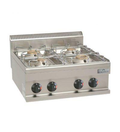 Cocina gas 4 fuegos de 600 x 600 mm.