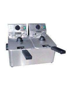 freidora eléctrica 4+4 litros inox