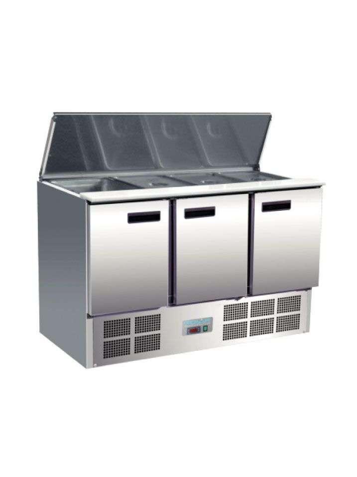 Mostrador de preparación frigorífico 3 puertas  368 litros
