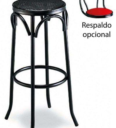 Taburete con rejilla metálica, respaldo opcional 503 RO color negro