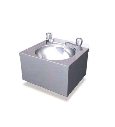 Lavamanos individual con grifos de agua fría y caliente