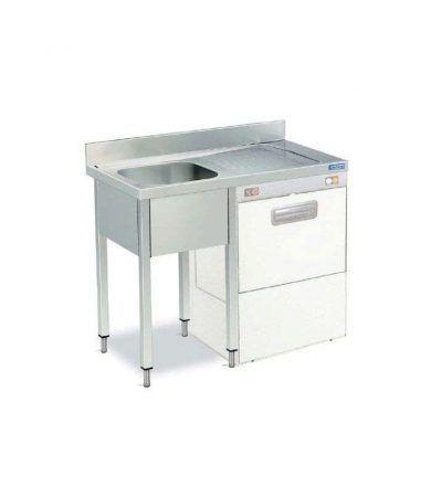 Fregadero / bastidor 1 cuba + escurridor + estante fondo 600 mm. hueco lavavajillas