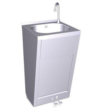 Lavamanos con doble pedal de agua fría y caliente