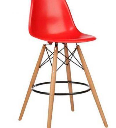 Taburete TOWER bas madera colores blanco rojo y negro