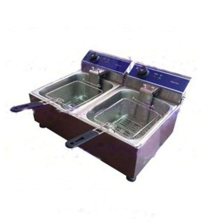 Freidora eléctrica sobremesa 2 cubas