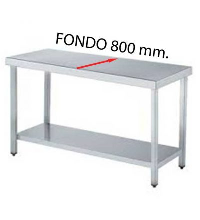 Mesa central fondo 800 de diferentes medidas (con estante)