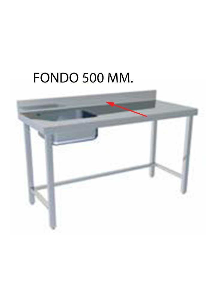FREGADERO MONTADO FONDO 500 MM CON BASTIDOR SIN ESTANTE FF500MS-FB85/135-COF