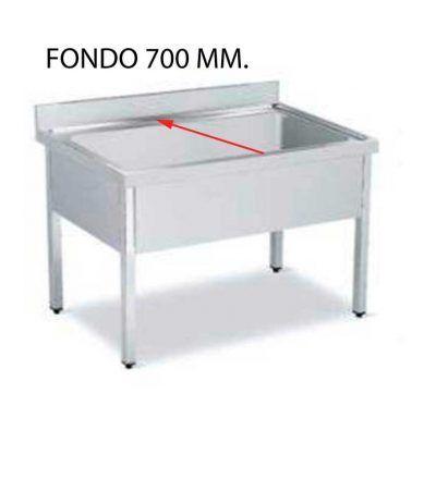 Fregadero gran capacidad fondo 700 mm una cuba con bastidor y sin estante