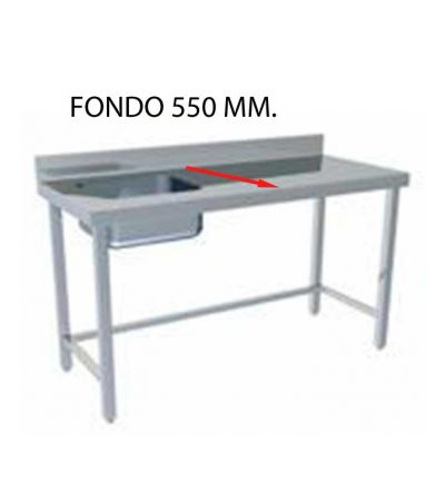 Fregadero montado fondo 550 mm con bastidor sin estante