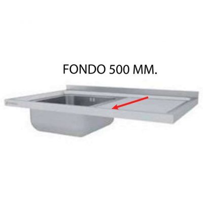 Fregadero montado fondo 500 mm