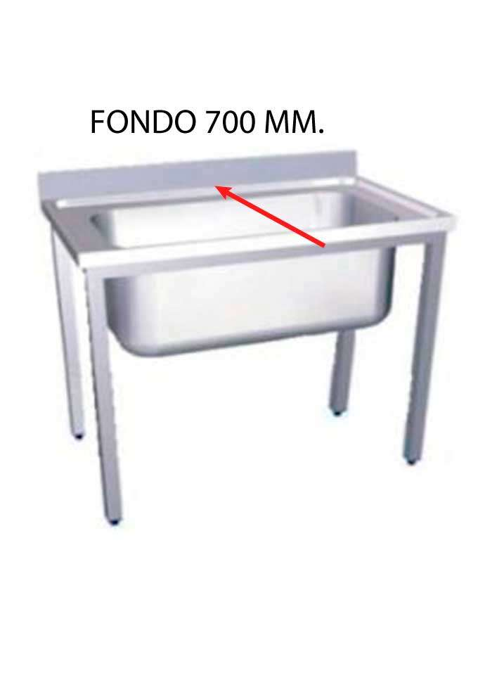 FREGADERO GRAN CAPACIDAD FONDO 700 MM MONTADO CON BASTIDOR SIN ESTANTE GCF700M-COF
