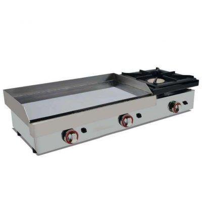 Plancha de gas acero con baño cromo y fogón 6kw