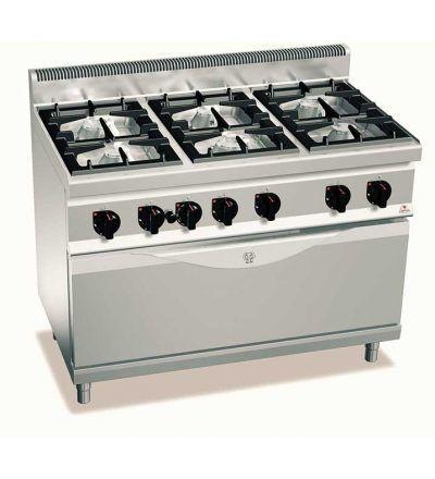 Cocina a gas 6 fuegos y horno