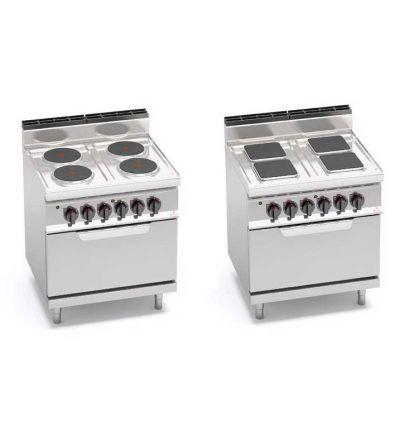Cocina eléctrica 4 fuegos y horno GN 1/1