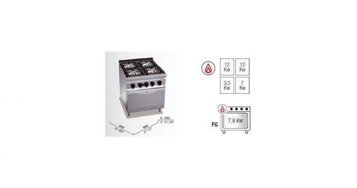 Cocina a gas 4 fuegos y horno