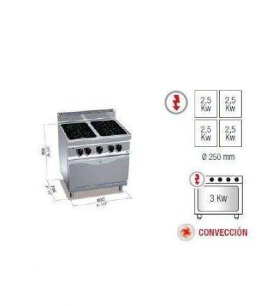 Cocina vitrocerámica 4 fuegos y horno
