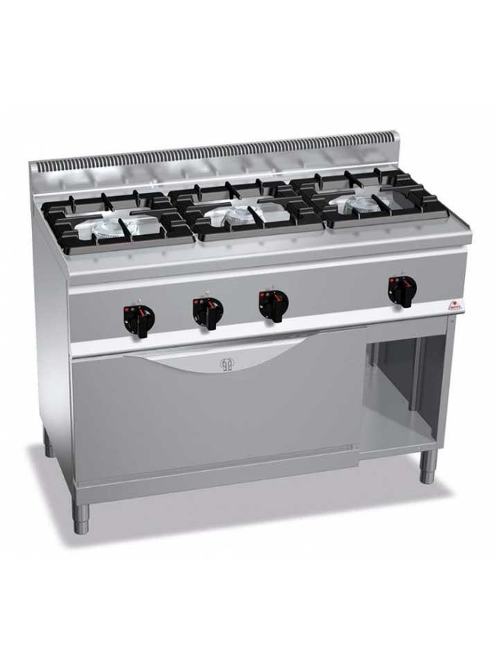 cocina a gas 3 fuegos y horno maxi cghm 12t romg