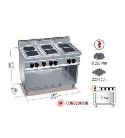 Cocina 6 fuegos y horno eléctrico  gn 1/1