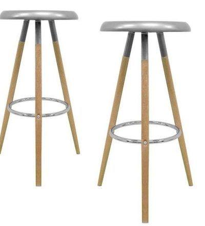 Set dos taburetes nórdicos KEVER color gris metalizado
