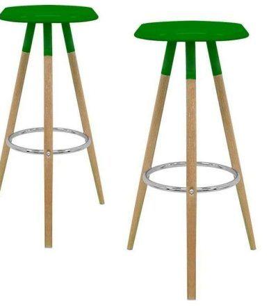 Set dos taburetes nórdicos KEVER color verde