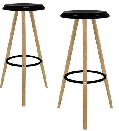 Set dos taburetes nórdicos KAY color negro