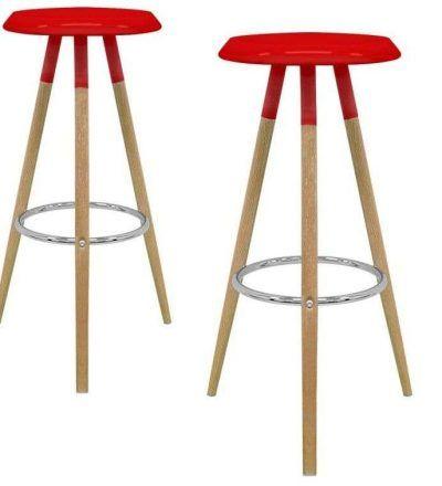 Set dos taburetes nórdicos KEVER color rojo
