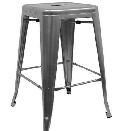 Taburete industrial cocina TORIX gris metalizado