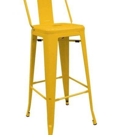 Taburete industrial TORIX respaldo amarillo