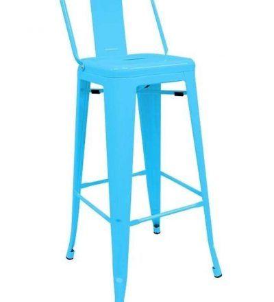 Taburete industrial TORIX respaldo azul