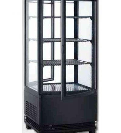 Vitrina frigorífica vertical puerta curva negro
