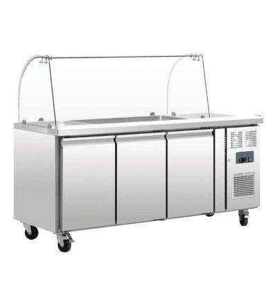 Mostrador de preparación refrigerado con pantalla y 3 puertas