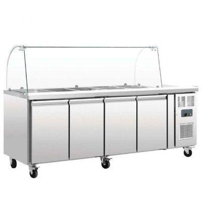 Mostrador de preparación refrigerado con pantalla y 4 puertas