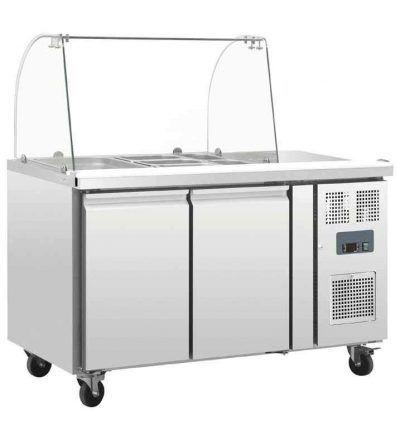 Mostrador de preparación refrigerado con pantalla y 2 puertas
