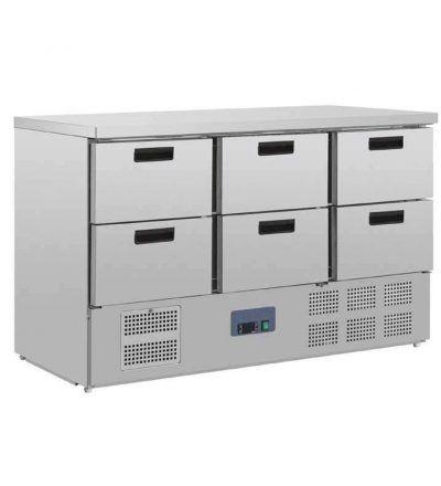 Mostrador frigorífico de preparación con 6 cajones