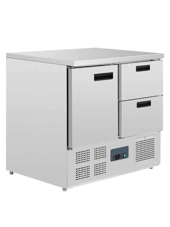 Mostrador frigorífico 1 puerta y dos cajones 240L