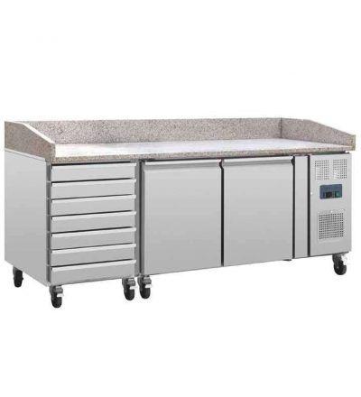 Mostrador pizzas de mármol y refrigerado 2 puertas cajones para masa
