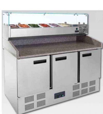 Mostrador refrigerado preparación pizzas/ensalada superficie granito