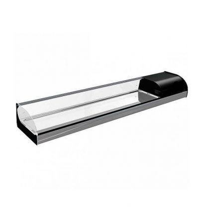 Vitrina refrigerada cristal curvo abatible cuba plana 1146mm