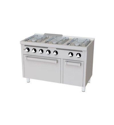 Cocina a Gas 6 Fuegos con Horno 1200x600 ECO