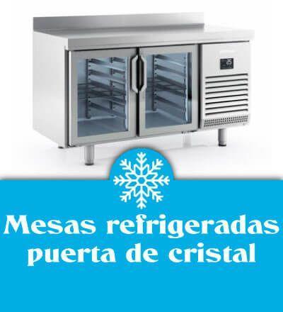 Mesas refrigeradas puerta de cristal